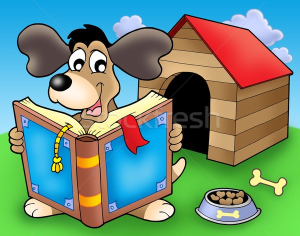 Dog with book in front of kennel Stock photo © clairev