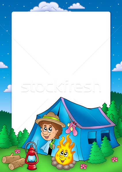 Frame camping verkenner kleur illustratie boom Stockfoto © clairev