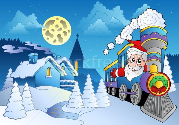 Santa on train near small village Stock photo © clairev