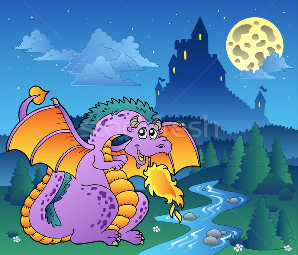 Fairy tale image with dragon 3 Stock photo © clairev
