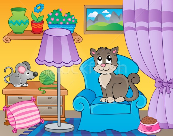 Рисунок моей комнаты с кошкой