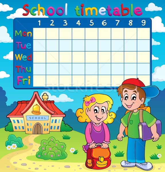School timetable with two children Stock photo © clairev
