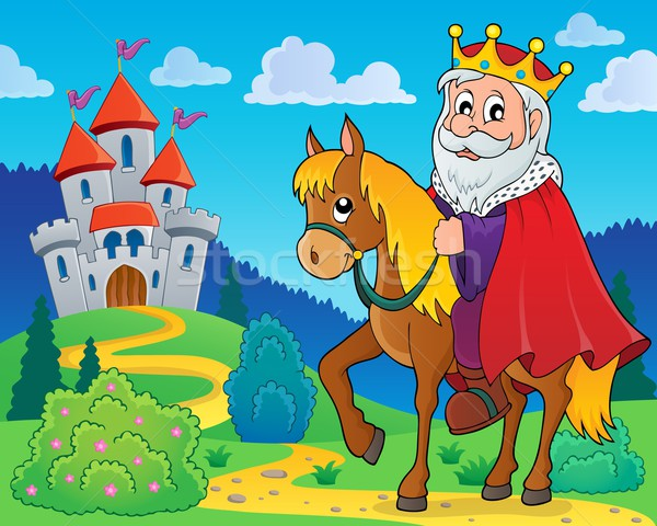 Rei cavalo imagem arte castelo animal Foto stock © clairev