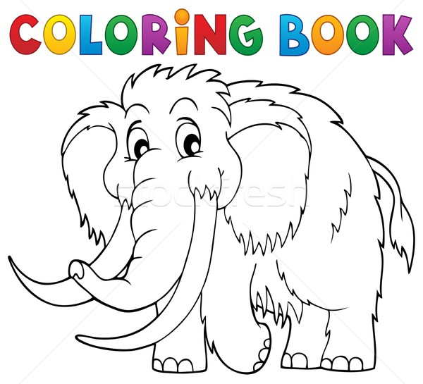 Coloring book mammoth theme 1 Stock photo © clairev