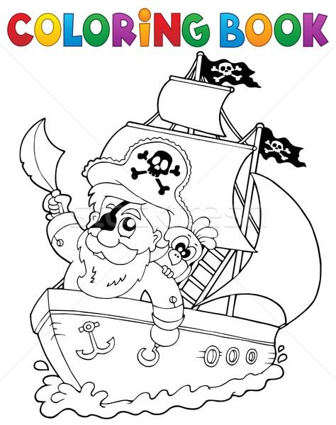 Boyama Kitabı Gemi Korsan Su Kitap Adam Vektör