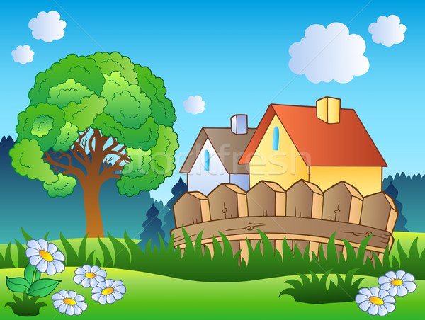 Spring landscape with two houses Stock photo © clairev