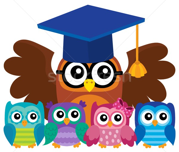 Owl teacher and owlets theme image 4 Stock photo © clairev