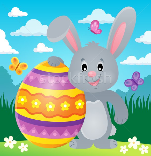 Stylized bunny with Easter egg theme 2 Stock photo © clairev