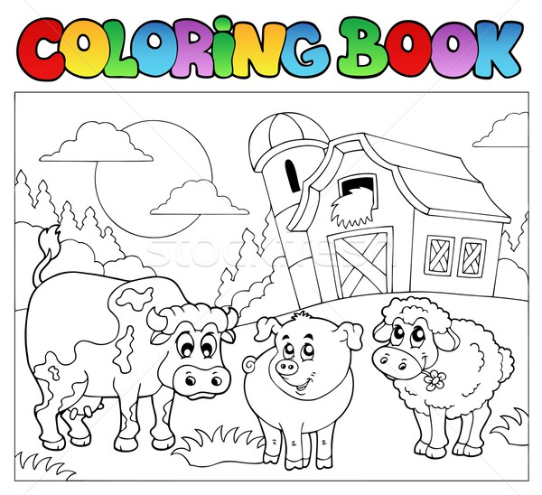 Coloring book with farm animals 3 Stock photo © clairev