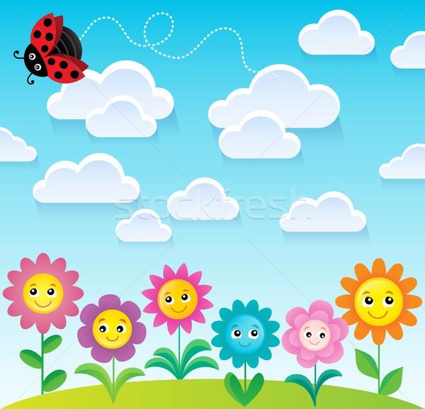 Wiosną temat kwiat kwiaty uśmiech charakter Zdjęcia stock © clairev