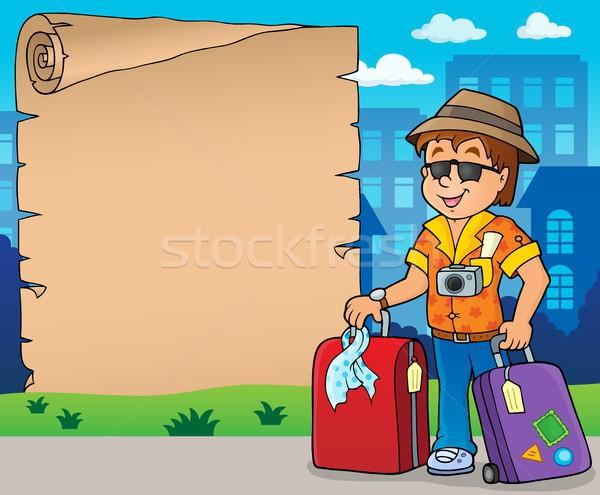 Foto stock: Pergamino · viaje · papel · hombre · arte · jóvenes