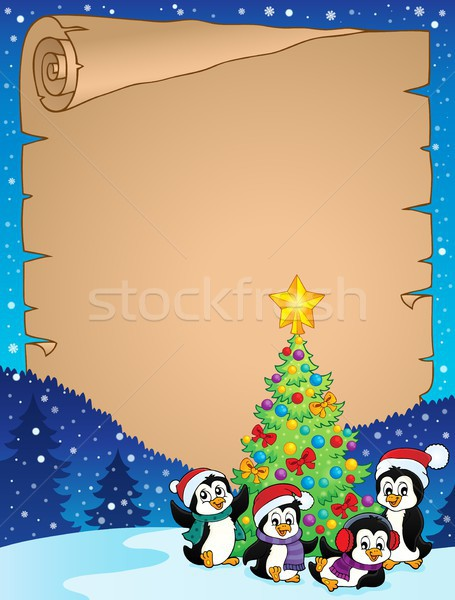 Christmas tree and penguins parchment 1 Stock photo © clairev