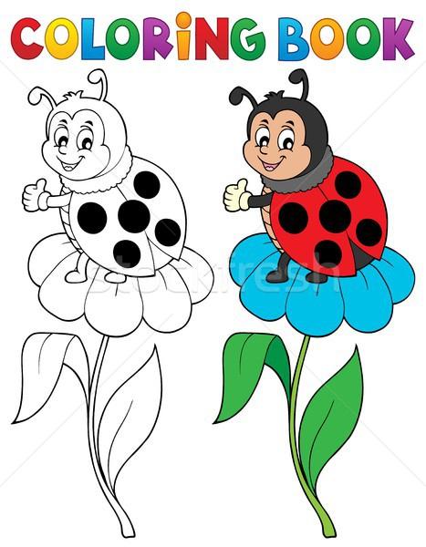 книжка-раскраска Ladybug цветок книга счастливым природы Сток-фото © clairev
