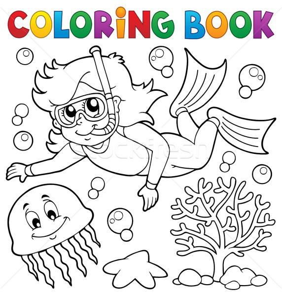 Boyama kitabı kız şnorkel dalgıç su kitap Stok fotoğraf © clairev