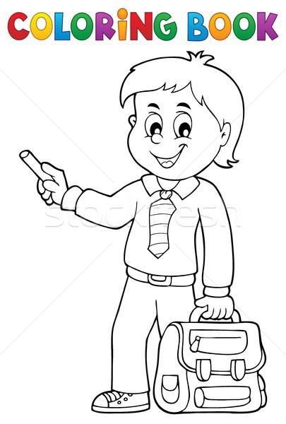 Kleurboek gelukkig jongen boek kind student Stockfoto © clairev