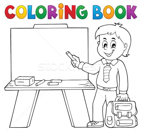 塗り絵の本 幸せ 少年 図書 子 学生 ストックフォト © clairev