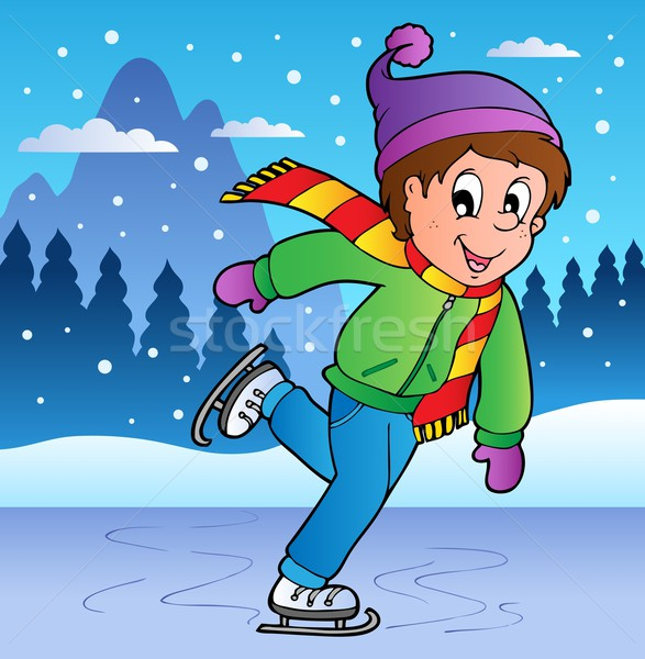 Winter scene with skating boy Stock photo © clairev