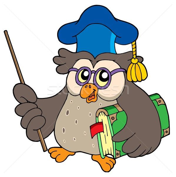 Owl teacher with book and pointer Stock photo © clairev