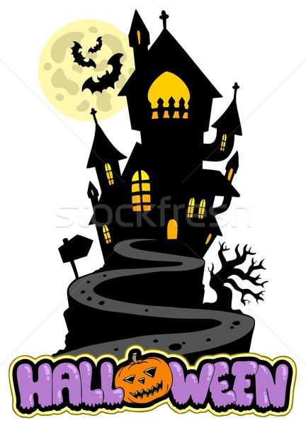 Foto stock: Halloween · assinar · casa · colina · árvore · edifício