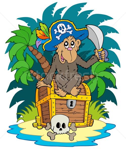 Pirate island with monkey Stock photo © clairev