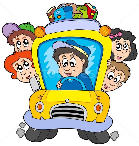 Okul otobüsü çocuklar okul mutlu çocuk öğrenci Stok fotoğraf © clairev