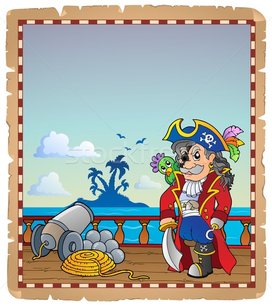 Parchment with pirate ship deck 2 Stock photo © clairev