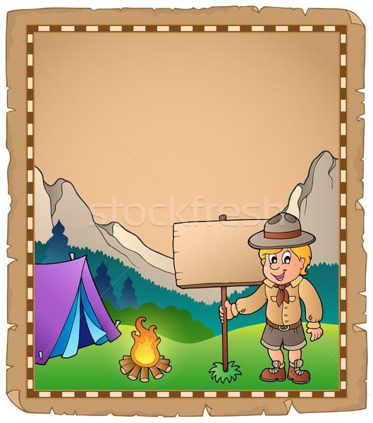 Pergamen felderítő fiú tábla gyermek művészet Stock fotó © clairev