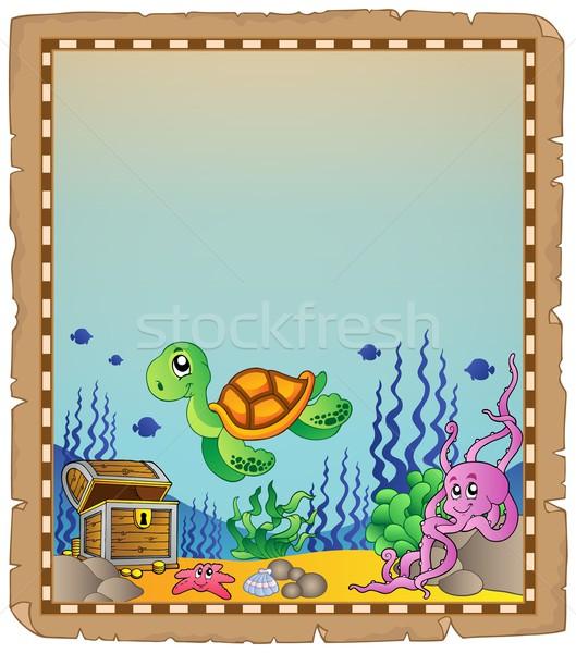 Pergamino subacuático verano océano animales tortuga Foto stock © clairev