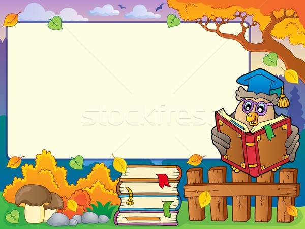 Autumn frame with owl teacher 4 Stock photo © clairev