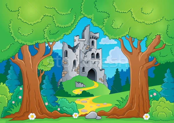 Tree theme with castle ruins Stock photo © clairev