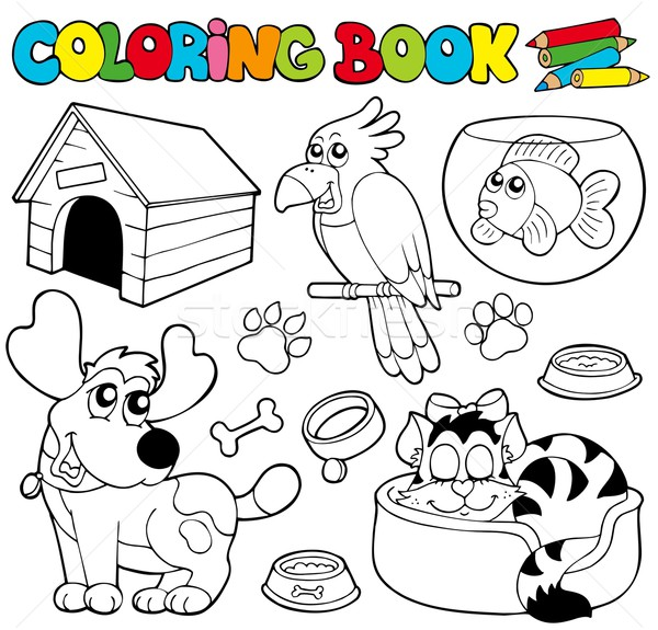 Coloring book with pets 1 Stock photo © clairev