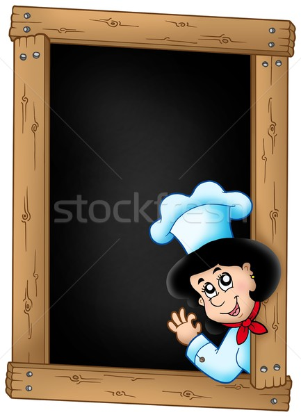 Blackboard with lurking woman chef Stock photo © clairev