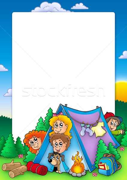 Frame with group of camping kids Stock photo © clairev