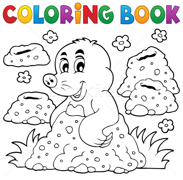 Coloring book with happy mole theme 1 Stock photo © clairev