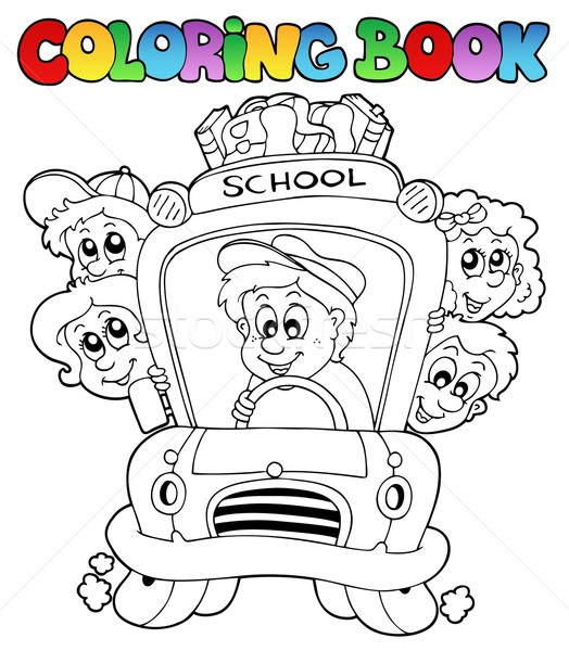 Coloring book with school images 3 Stock photo © clairev