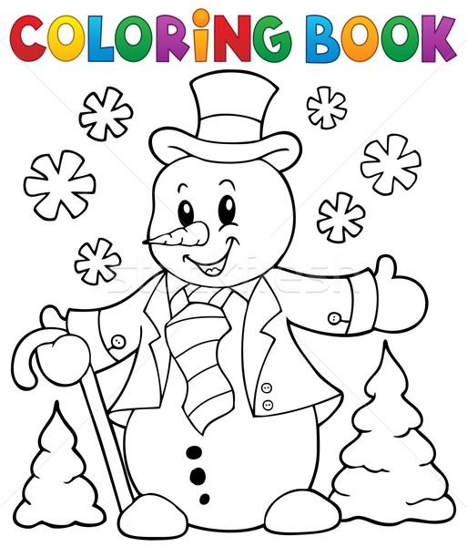 Kifestőkönyv hóember téma mosoly könyv festék Stock fotó © clairev