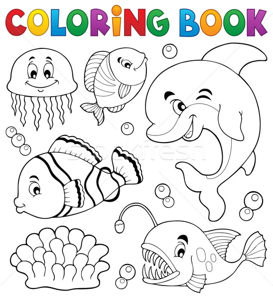 Coloring book ocean fauna topic 1 Stock photo © clairev