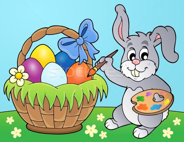 Nyuszi festmény tojások kosár húsvét tavasz Stock fotó © clairev