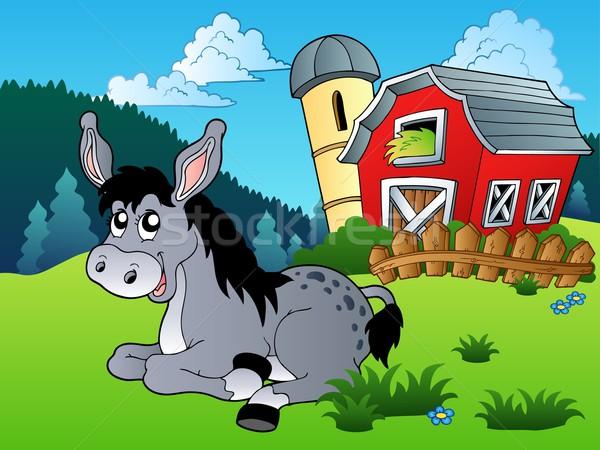 Ezel boerderij glimlach dier hek tekening Stockfoto © clairev