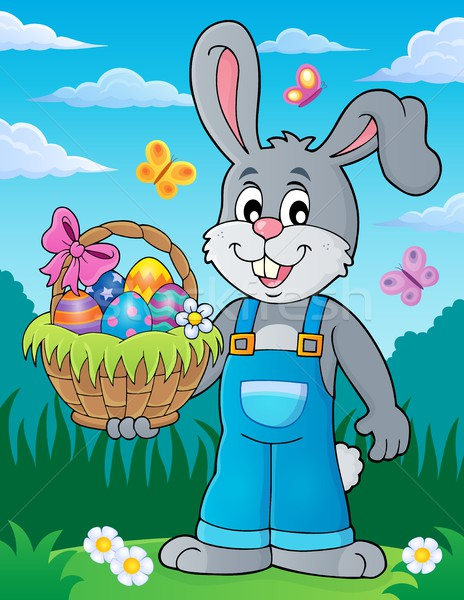 Bunny holding Easter basket theme 3 Stock photo © clairev