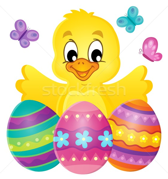 Chicken with Easter eggs theme image 1 Stock photo © clairev