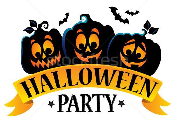 Stock photo: Halloween party sign theme image 1
