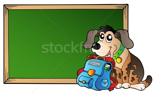 Board with dog and school bag Stock photo © clairev