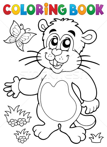 Coloring book groundhog theme image 1 Stock photo © clairev