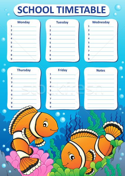 Weekly school timetable design 5 Stock photo © clairev