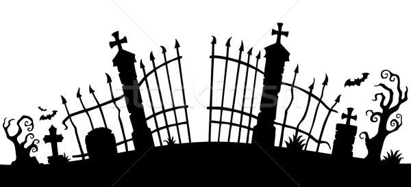 Cemetery gate silhouette theme 1 Stock photo © clairev