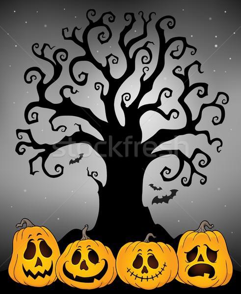 Halloween arbre silhouette sujet automne ombre Photo stock © clairev