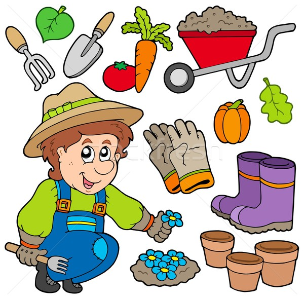 Gardener with various objects Stock photo © clairev