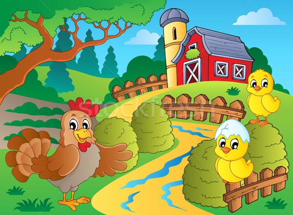 Farm theme with hen and chickens Stock photo © clairev