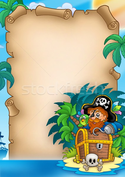 Parchment with pirate on island Stock photo © clairev